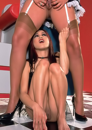 Stunning lesbians satisfy each other on the floor
