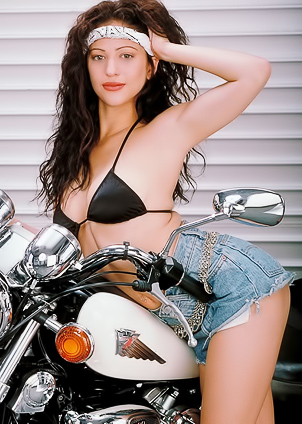 Naughty Katrina gets satisfaction on a motorcycle
